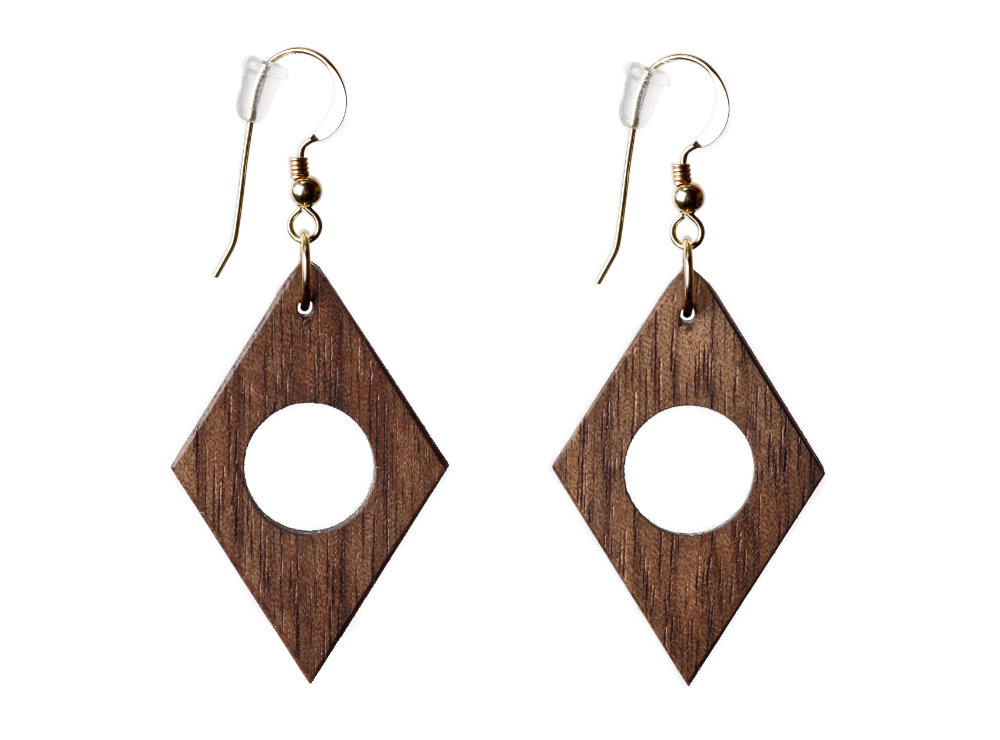 Geometric Earrings Walnut Wood Diamond-shape