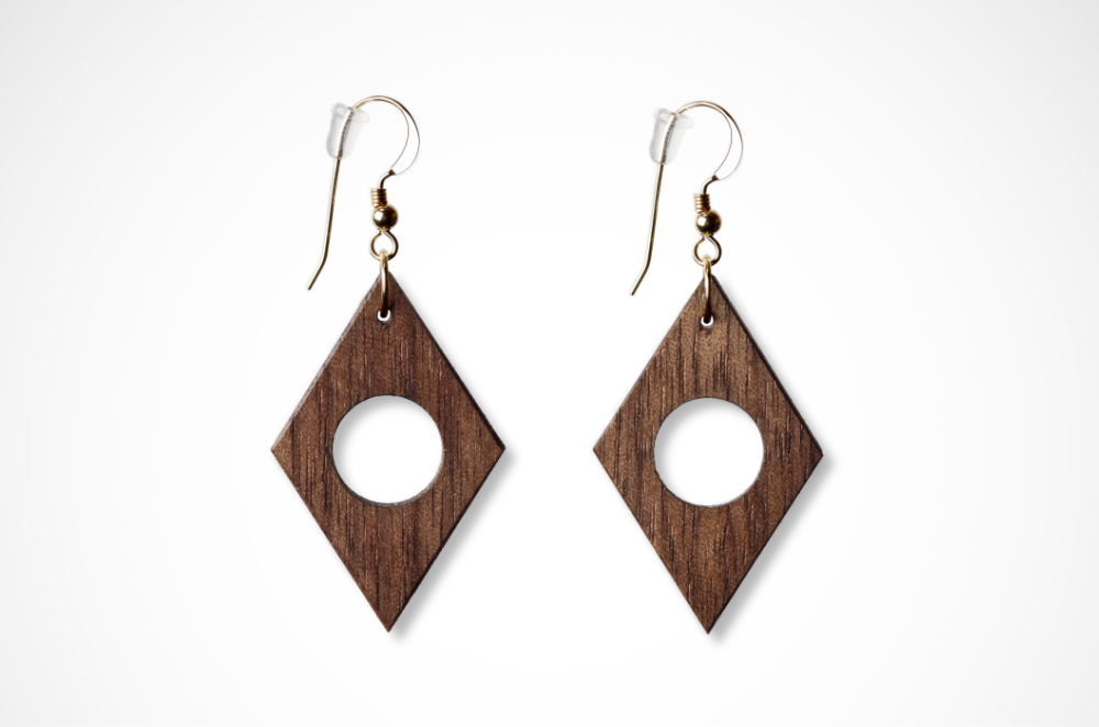 Geometric Earrings Walnut Wood Diamond shape